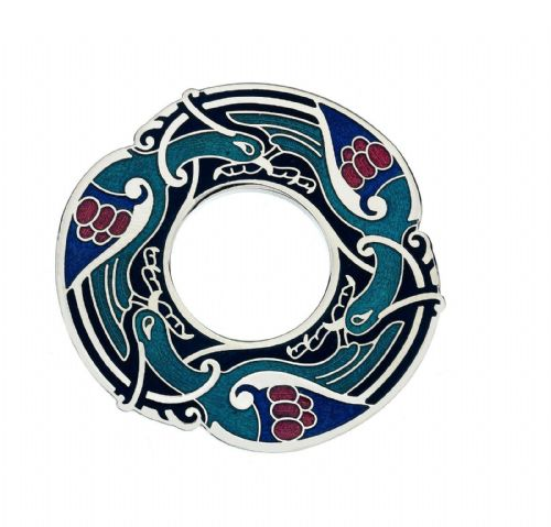 Blue Celtic Birds Brooch Silver Plated Brand New Gift Packaging